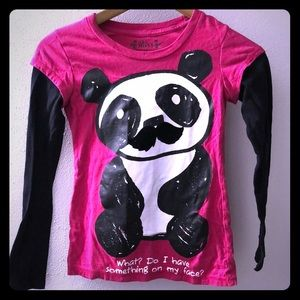 Girls long sleeve shirt with a panda on the front